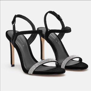 Zara shoes, black velvet sandals